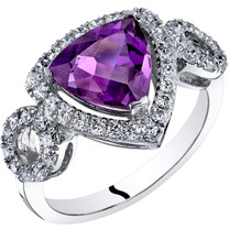 14K White Gold Amethyst Ring Trillion Cut 1.50 Carats Sizes 5-9