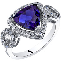 14K White Gold Created Sapphire Ring Trillion Cut 2.50 Carats Sizes 5-9