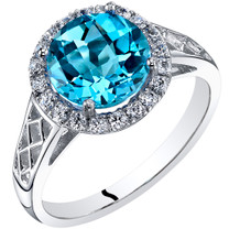 14K White Gold Swiss Blue Topaz Galleria Ring 2.50 Carats Sizes 5-9