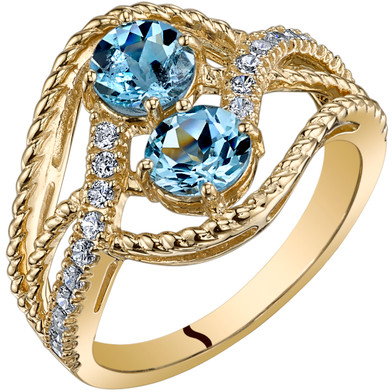 14K Yellow Gold Two Stone Aquamarine Ring 1.00 Carats Sizes 5-9
