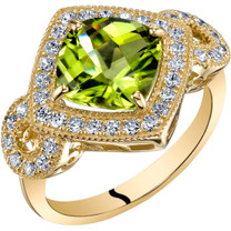 14K Yellow Gold Peridot Ring Cushion Cut 2.50 Carats Sizes 5-9