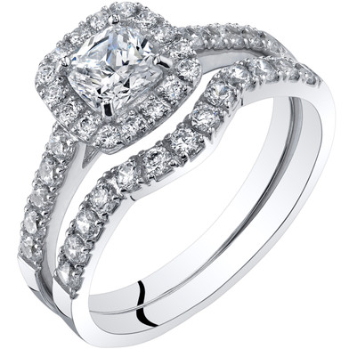 14K White Gold Cushion Cut Engagement Ring and Wedding Band Bridal Set Sizes 4-10