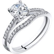 14K White Gold Classic Engagement Ring and Wedding Band Bridal Set Sizes 4-10