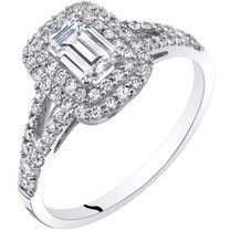14K White Gold Emerald Cut Engagement Ring Sizes 4-10