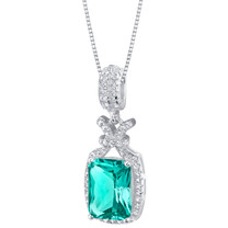 Simulated Paraiba Tourmaline Sterling Silver Glam Pendant Necklace