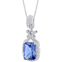 Simulated Tanzanite Sterling Silver Glam Pendant Necklace