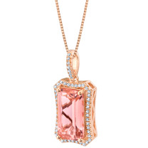 Simulated Morganite Rose-Tone Sterling Silver Celestial Pendant Necklace