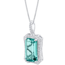 Simulated Paraiba Tourmaline Sterling Silver Celestial Pendant Necklace