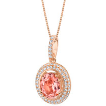 Simulated Morganite Rose-Tone Sterling Silver Harmony Pendant Necklace