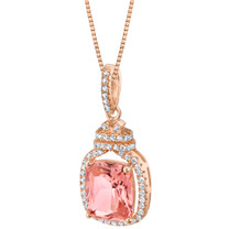 Simulated Morganite Rose-Tone Sterling Silver Glitz Pendant Necklace