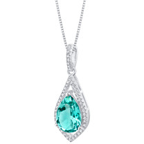 Simulated Paraiba Tourmaline Sterling Silver Regal Pendant Necklace
