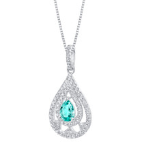 Simulated Paraiba Tourmaline Sterling Silver Divine Pendant Necklace