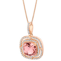 Simulated Morganite Rose-Tone Sterling Silver Glisten Pendant