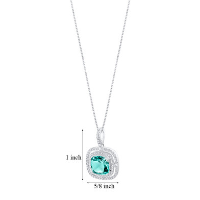 Simulated Paraiba Tourmaline Sterling Silver Glisten Pendant Necklace