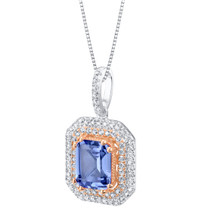Simulated Tanzanite Two-Tone Sterling Silver Octagon Pendant Necklace
