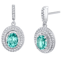 Simulated Paraiba Tourmaline Sterling Silver Halo Earrings