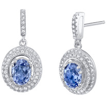Simulated Tanzanite Halo Dangle Earrings Sterling Silver