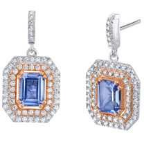Simulated Tanzanite Two-Tone Sterling Silver Octagon Poise Earrings