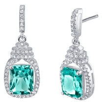 Simulated Paraiba Tourmaline Sterling Silver Cushion-Cut Glitz Earrings