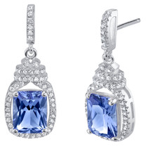 Simulated Tanzanite Sterling Silver Cushion-Cut Glitz Earrings
