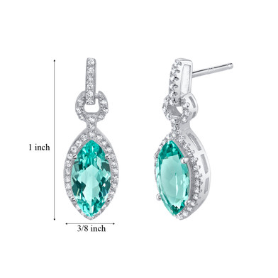Simulated Paraiba Tourmaline Sterling Silver Marquise Royal Earrings