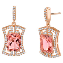 Simulated Morganite Rose-Tone Sterling Silver Art Deco Earrings