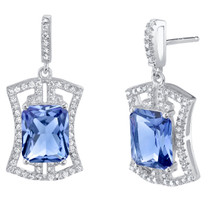 Simulated Tanzanite Sterling Silver Art Deco Earrings