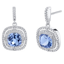 Simulated Tanzanite Sterling Silver Cushion Swing Earrings