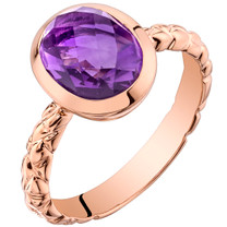 14k Rose Gold 2.00 carat Amethyst Cupola Solitaire Dome Ring