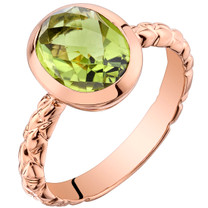 14k Rose Gold 2.50 carat Peridot Cupola Solitaire Dome Ring