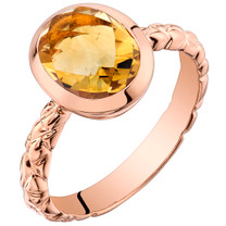 14k Rose Gold2.00 carat Citrine Cupola Solitaire Dome Ring