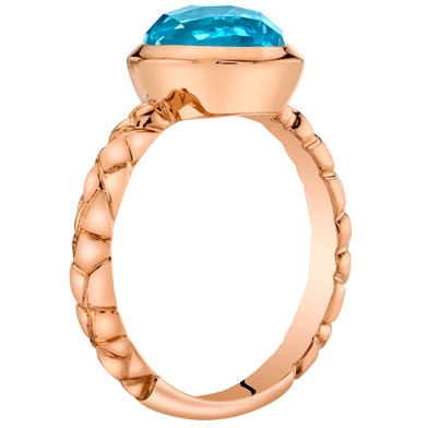 14k Rose Gold 2.50 carat Swiss Blue Topaz Cupola Solitaire Dome Ring