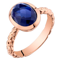 14k Rose Gold 3.00 carat  Created Blue Sapphire Cupola Solitaire Dome Ring