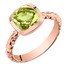 14k Rose Gold 2.00 carat Peridot Cushion Cut Woven Solitaire Dome Ring