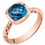 14k Rose Gold 2.50 carat London Blue Topaz Cushion Cut Woven Solitaire Dome Ring