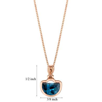 14k Rose Gold 4.00 carat London Blue Topaz Half Moon Cut Pendant
