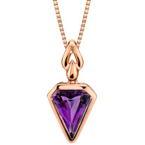 14k Rose Gold 2.00 carat Amethyst Chevron Cut Pendant