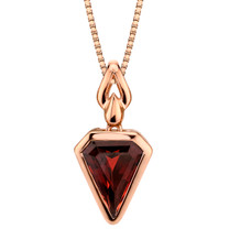 14k Rose Gold 3.25 carat Garnet Chevron Cut Pendant