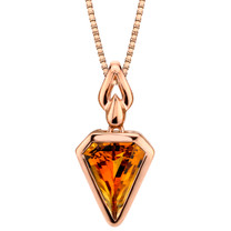 14k Rose Gold 2.50 carat Citrine Chevron Cut Pendant