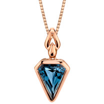 14k Rose Gold 3.00 carat London Blue Topaz Chevron Cut Pendant