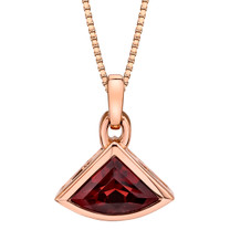14k Rose Gold 2.75 carat Garnet Fan Shaped Pendant