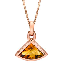 14k Rose Gold 2.00 carat Citrine Fan Shaped Pendant