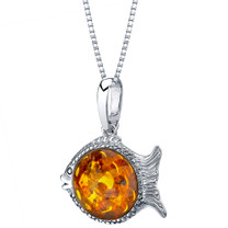 Baltic Amber Sterling Silver Fish Pendant Necklace