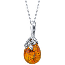 Baltic Amber Sterling Silver Bee Pendant Necklace