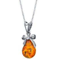 Baltic Amber Sterling Silver Bow Pendant Necklace