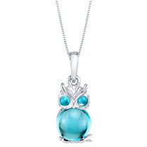Swiss Blue Topaz Mini Owl Sterling Silver Pendant Necklace