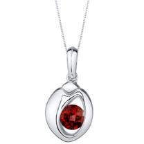 Garnet Sterling Silver Sphere Pendant Necklace