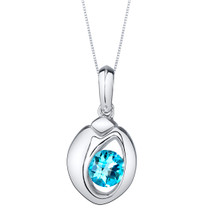 Swiss Blue Topaz Sterling Silver Sphere Pendant Necklace