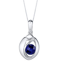 Created Sapphire Sterling Silver Sphere Pendant Necklace