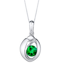 Simulated Emerald Sterling Silver Sphere Pendant Necklace